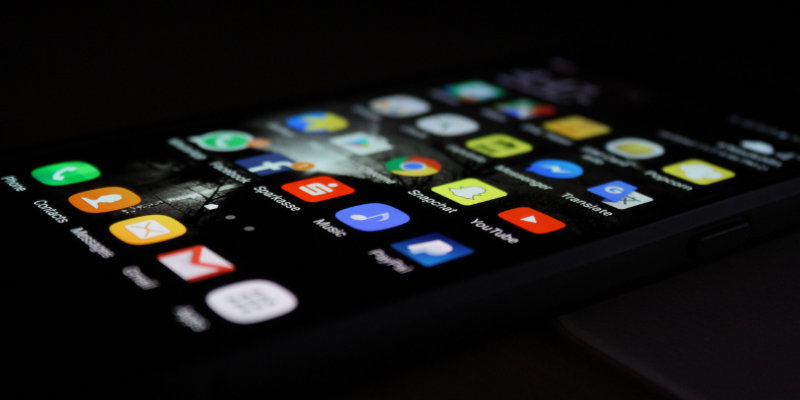 Phone displaying app drawer