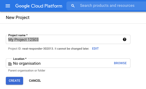 New project page in the Google Cloud Platform