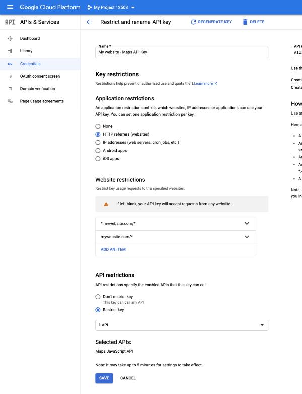 Restricting your Google Maps API key